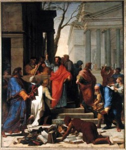 The Sermon of St. Paul at Ephesus, 1649 (oil on canvas) by Le Sueur, Eustache (1617-55)
